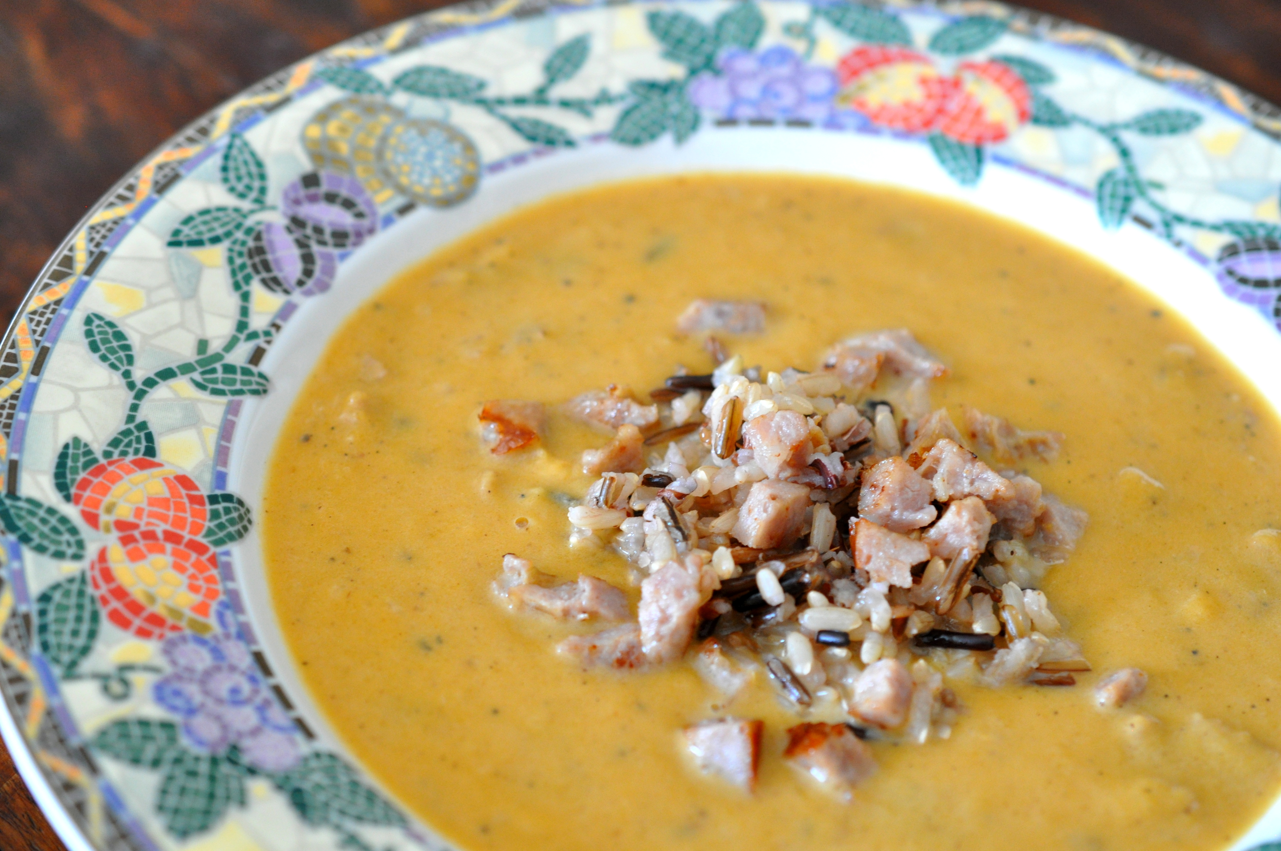 Roasted Butternut Squash Soup with Sausage and Wild Rice | sarahsjoys